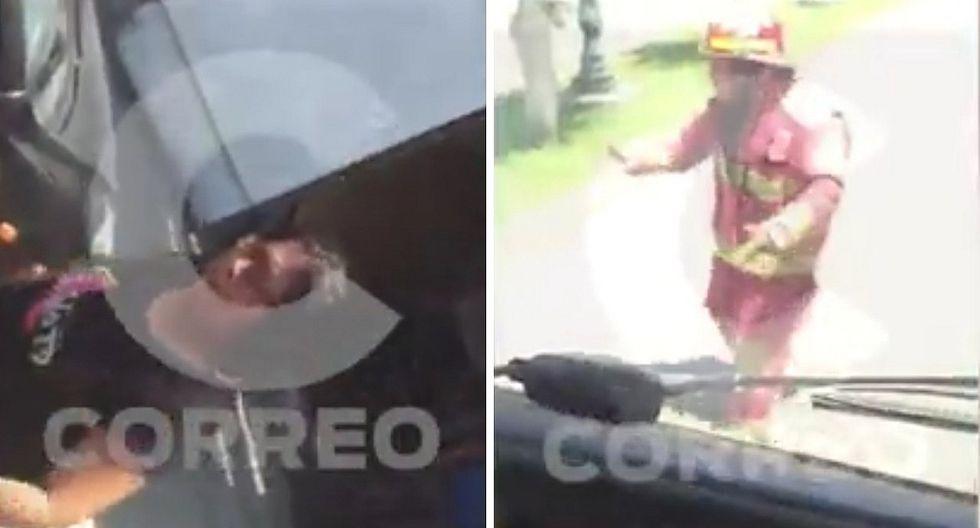 Bomberos se dirigían a apagar incendio y chofer les cierra el paso (VIDEO)