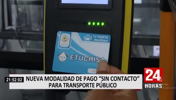 La empresa de transporte público Los Chinos ha implementado el sistema de pago con tarjeta sin contacto. (Noticiero 24 Horas)