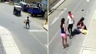 Espeluznante atropello a mujer policía con mototaxi