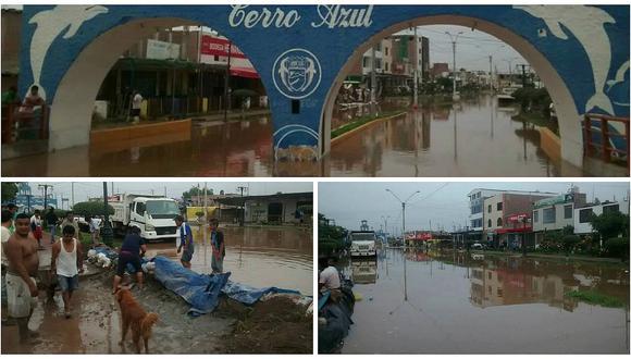 Huaico inunda principales calles en balneario de Cerro Azul (FOTOS + VIDEO)