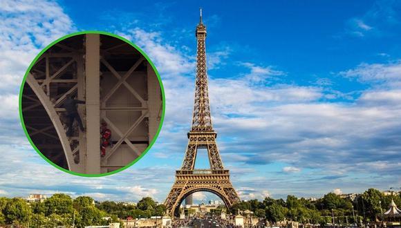 Hombre escala la torre Eiffel y provoca la evacuación del monumento histórico