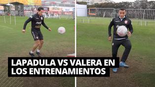 Selección peruana: Lapadula y Valera se enfrentaron en una partida de teqball en los entrenamientos