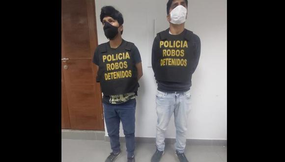 Estos sujetos fueron detenidos en flagrancia por agentes de la Dirincri. (Foto: Policía Nacional)