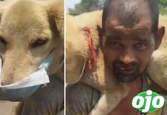 Hombre se quita su única mascarilla y se la pone a su perrito para 'protegerlo del coronavirus'   VIDEO