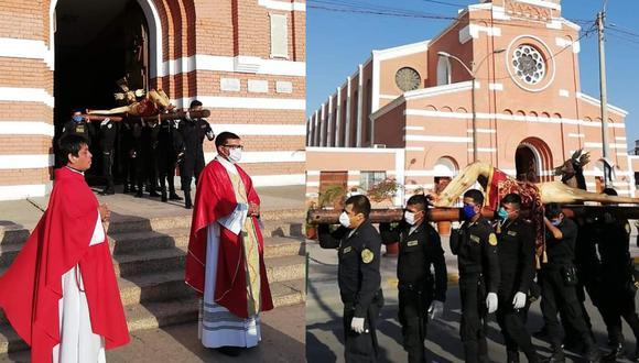 Ica: Policías participan de misa y procesión de Viernes Santo pese a cuarentena, en Chincha.