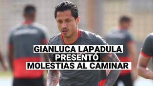 Gianluca Lapadula, después de la victoria ante Colombia, fue visto con molestias al caminar