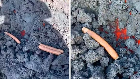 Los jóvenes no tuvieron mejor idea que cocinar salchichas en medio de un volcán en erupción, poniendo en peligro sus propias vidas. (Foto: Twitter)