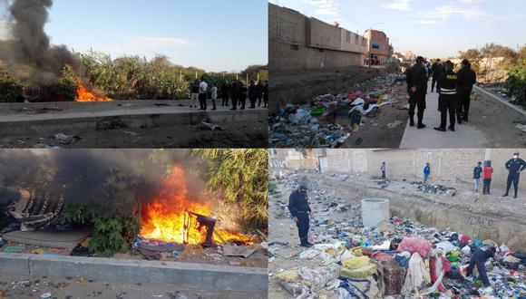 Chiclayo: fumadero es destruido en zona roja donde se comercializaba drogas (Foto: PNP)