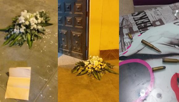 Chiclayo: Delincuentes dejan arreglo floral para difunto y cuatro balas en puerta de vivienda (Foto: PNP)