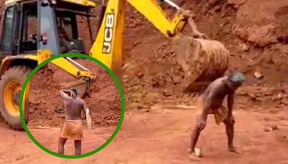 Un video viral muestra el peculiar uso que un hombre le dio a una máquina retroexcavadora en un sitio de construcción.   Crédito: ABDUL NASAR / Facebook.