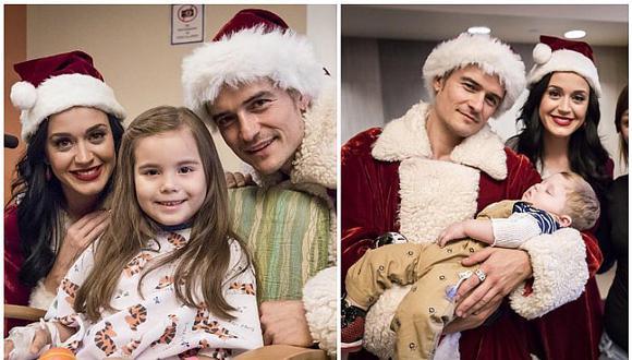 Katy Perry y Orlando Bloom le llevan alegría a niños de un hospital por Navidad (FOTOS)