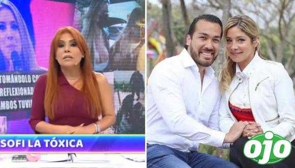Magaly le da con palo a Sofía Franco. Foto: (Captura/ATV   redes sociales).