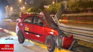Vía Expresa: Taxista se salva de morir tras despistarse y chocar contra baranda de seguridad