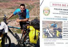 Ciclista argentino desaparece en la ciudad de Cusco