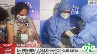 Abuelita de 104 años es la primera adulta mayor en vacunarse contra el Covid-19 en el país | VIDEO