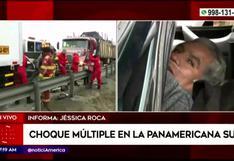 Conductor quedó atrapado en su camioneta tras quíntuple choque en la Panamericana Sur