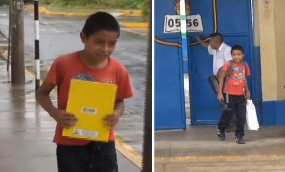Facebook: niño no tiene útiles, ni uniforme y camina más de una hora para llegar a su colegio
