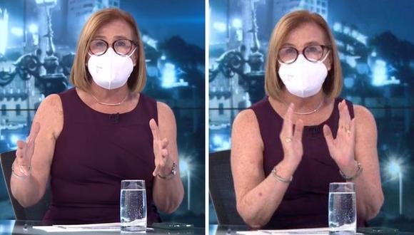 """Mónica Delta cuenta que ahora realizará sus entrevistas en """"Punto Final"""" con mascarillas. (Foto: Captura Latina)."""