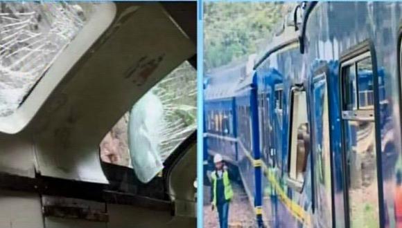 Imágenes muestran que las piedras dañaron la parte superior y lateral de vagón. (Captura: Canal N)