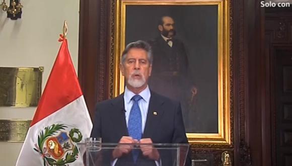 Ante las críticas a la policía, el presidente Francisco Sagasti brindó un Mensaje a la Nación. (Captura TV)