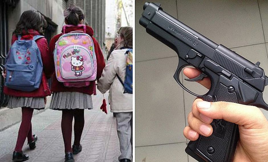 Niña va a su colegio con un arma cargada dentro de su mochila