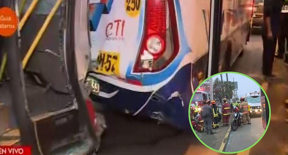 Choque de buses y un motociclista en avenida Javier Prado deja 6 heridos   VÍDEO
