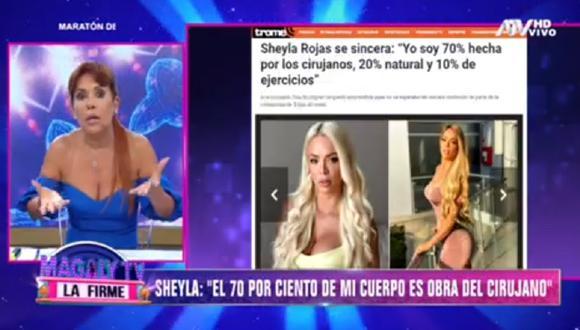 Magaly Medina comentó sobre las polémicas revelaciones de Sheyla Rojas. (Foto: Captura ATV)
