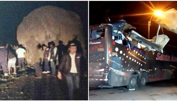 ¡Naturaleza imparable! Roca cae y mata a cuatro pasajeros en la Carretera Central (VIDEO)