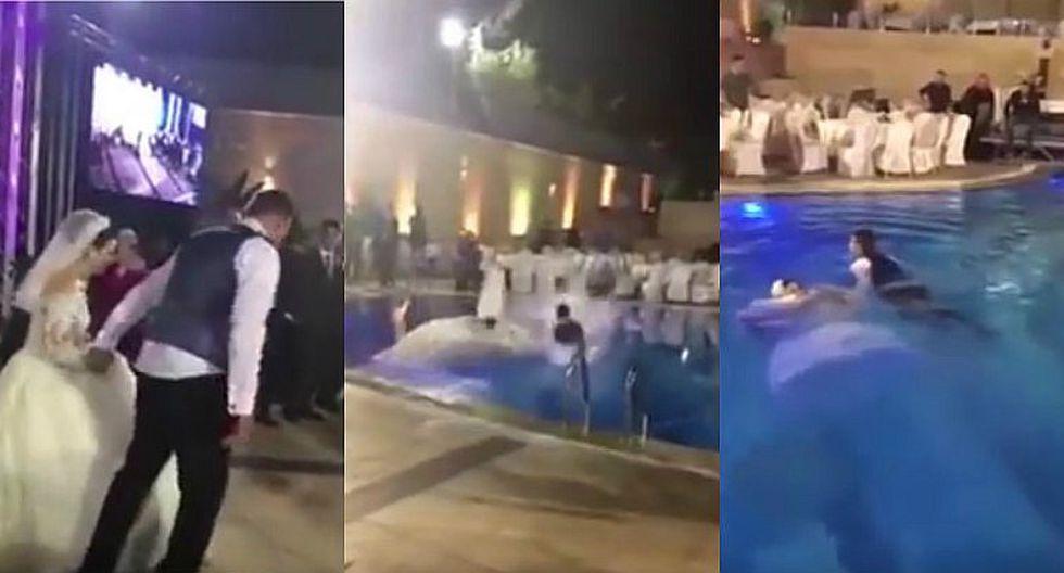 YouTube: Se lanzan a la piscina el día de su boda y son el hazme reír (VIDEO)