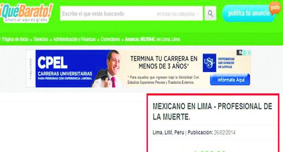 Sicarios online aumentan avisos en web