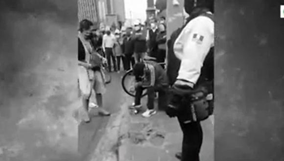 Cambista fue baleado al ser interceptado por seis delincuentes en el Cercado de Lima. (Captura: América Noticias)
