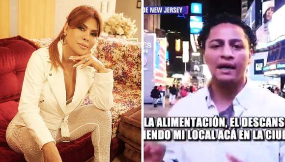 Magaly Medina cuestionó a Jonathan Maicelo por no hablar de su familia, la cual vive hace 12 años en Nueva Jersey. (Foto: Instagram / @magalymedinav / Captura ATV).