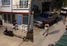 Amante es descubierta por esposa e intenta escapar bajando por el balcón y escondiéndose en una caja