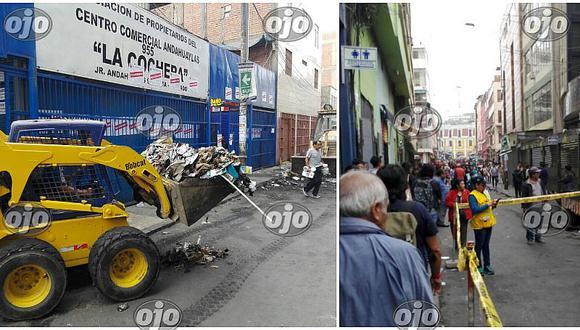 Mesa Redonda: remoción de escombros causa malestar de comerciantes (FOTOS Y VIDEOS)