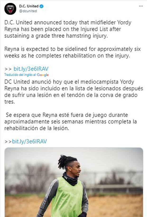 El anuncio de DC United sobre Yordy Reyna.