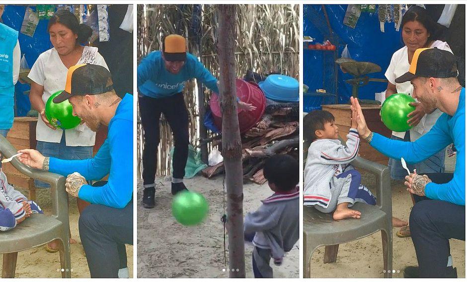 Sergio Ramos llega por primera vez al Perú y se divierte jugando con niño damnificado