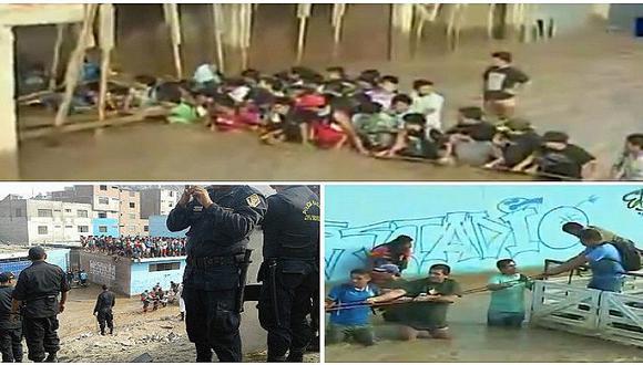 Huachipa: hacen impresionante cadena humana y arriesgan sus vidas en pleno desborde (VIDEO)