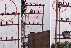 Niño juega en lo alto de un poste a 16 metros, pero ¿Cómo llegó ahí?   VIDEO