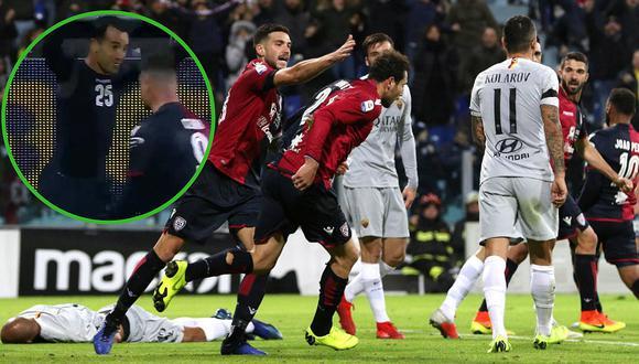 La Roma iba ganando 2-0, pero el Cagliari empata el partido con dos hombres menos (VIDEO)