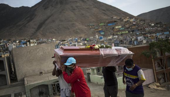 """Los trabajadores llevan el ataúd con los restos de Apolinario Chávez, de 74 años, quien murió por complicaciones de COVD-19, a su lugar de descanso final en el cementerio """"Mártires 19 de Julio"""" en Lima, Perú. (Foto: Rodrigo Abd / AP)"""