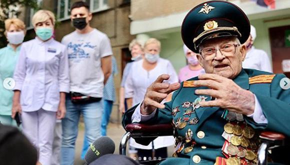 Nikolái Bagáev, hoy de102 años, peleó en la Segunda Guerra Mundial contra los nazis y los venció con el poderoso Ejército Rojo soviético.