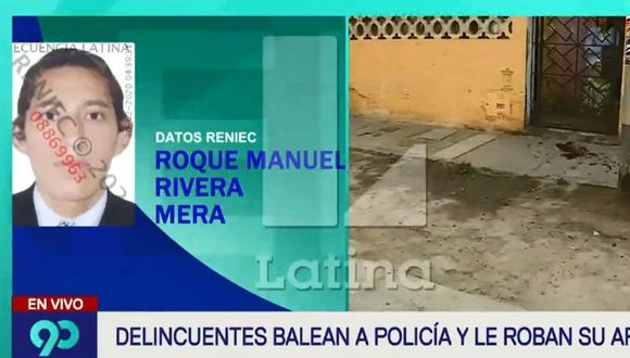 Se trata del alférez PNP Roque Manuel Rivera Mera, quien luego del intento de asalto en SMP fue trasladado al Hospital Central Policial. (Captura: Latina)