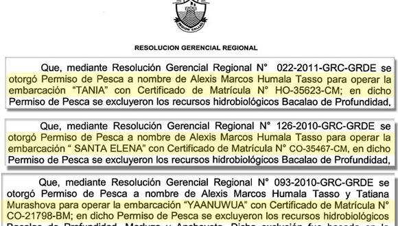 Alexis Humala tiene permiso para tres embarcaciones de pesca en nuestro mar