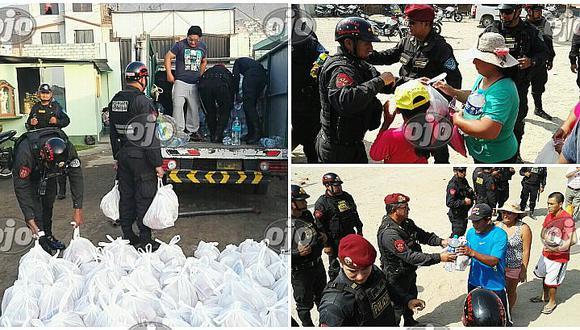 Chosica: policías lleva una tonelada de víveres a damnificados por huaicos (VIDEO)