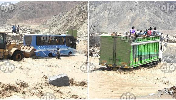 Huarochirí: bus y camión casi son arrasados por huaico y 35 personas se salvan de milagro (FOTOS)