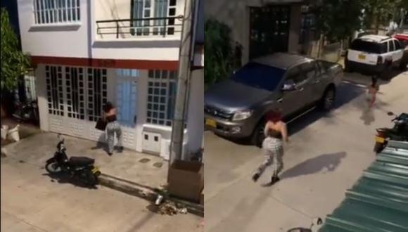 La esposa persiguió a la amante tras descubrir que logró escapar hacia la calle. (Foto: Captura/Twitter)