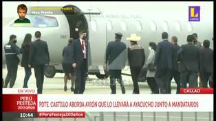 Pedro Castillo y primera dama abordan avión rumbo a Ayacucho junto a Evo Morales