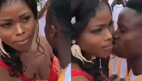 Novia niega un beso a su novio luego de casarse, en plena boda, y las redes se dividen en opiniones (Foto: Instagram)