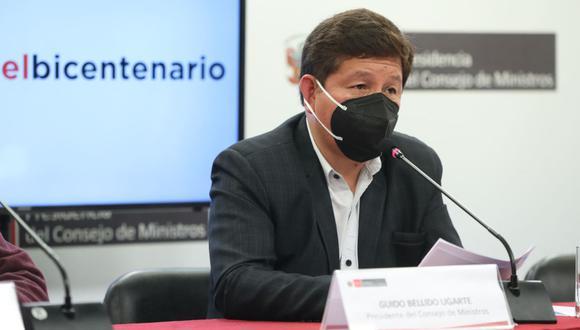 El presidente Guido Bellido hizo el anuncio sobre la declaratoria en estado de emergencia de la educación en el Perú. (Foto: Andina)