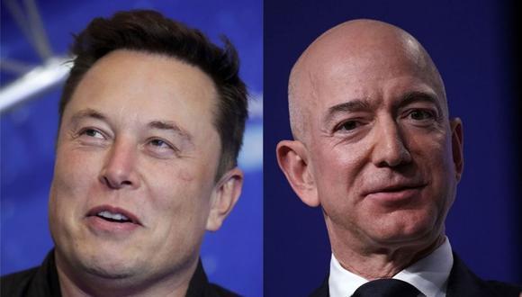 A la izquierda Elon Musk, dueño de Tesla y SpaceX que ha recuperado el primer lugar como el más acaudalado del planeta, desplazando al fundador de Amazon, Jeff Bezos. (Fotos: AP / AFP)